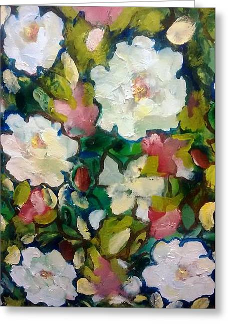 Azaleas And Roses Together Greeting Card by Patricia Taylor