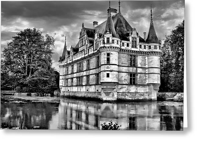 Recently Sold -  - Chateau Greeting Cards - Azay-le-Rideau - BW Greeting Card by Nikolyn McDonald