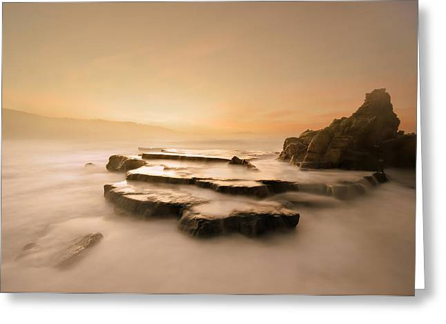 Pais Vasco Greeting Cards - Azkorri beach at sunset Greeting Card by Mikel Martinez de Osaba