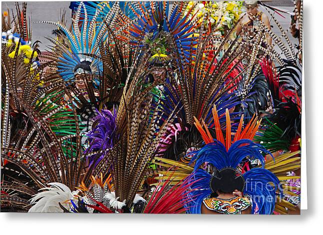 Craig Lovell Greeting Cards - Aztec Feather Dancers - Mexico Greeting Card by Craig Lovell