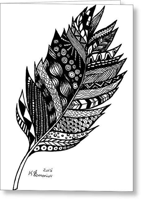 Single Mixed Media Greeting Cards - Aztec Feather Greeting Card by Kayleigh Semeniuk