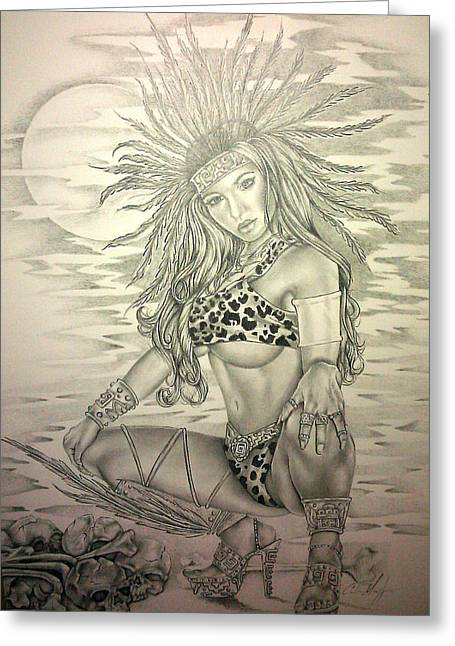 Aztec Princess Greeting Card by Carlos Mendoza