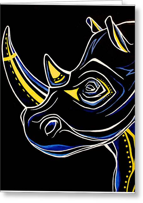 Abstract Shapes Greeting Cards - Aztec Rhino Greeting Card by Allison Liffman