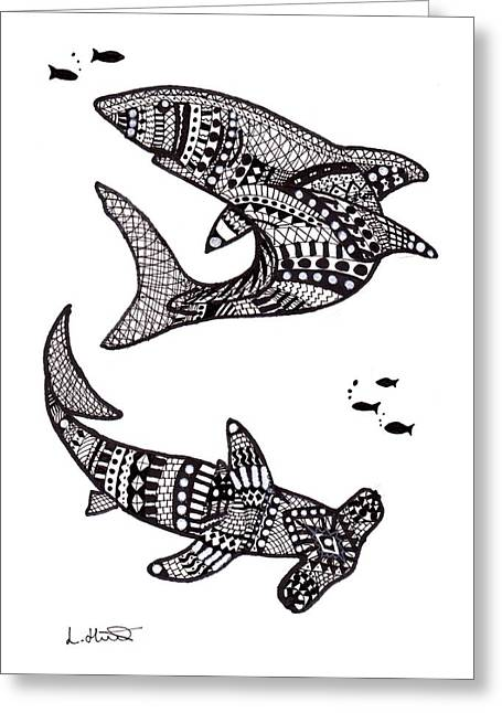 White Shark Drawings Greeting Cards - Aztec Sharks Greeting Card by Loren Hill