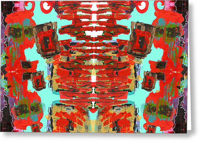 Loose Style Digital Greeting Cards - Aztec Space Golem Greeting Card by James Beech