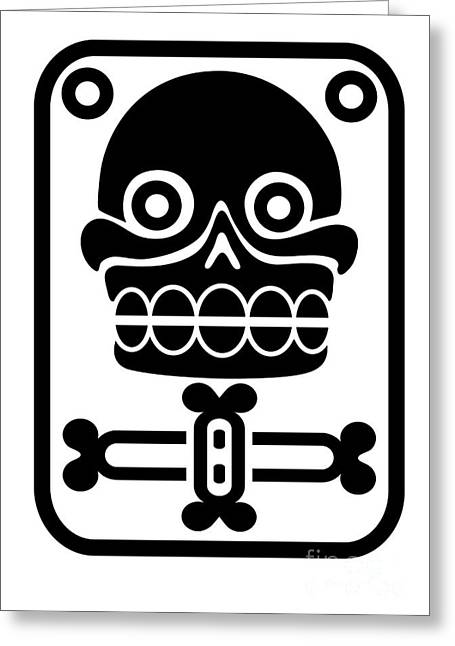 Indigenous Drawings Greeting Cards - Aztec stamp with skull Greeting Card by Michal Boubin