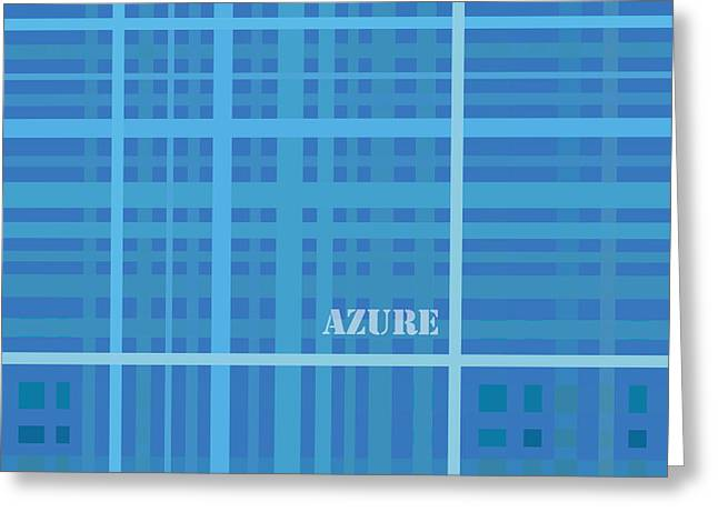 Rectangles Drawings Greeting Cards - Azure Blue Abstract Greeting Card by Frank Tschakert