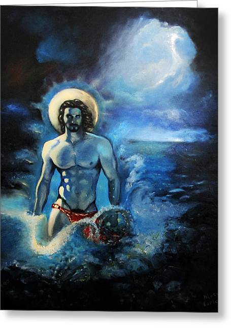 Will Power Paintings Greeting Cards - Azure Neptune Greeting Card by Aleksei Gorbenko