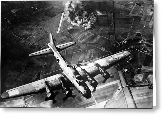 Plane Greeting Cards - B-17 Bomber Over Germany  Greeting Card by War Is Hell Store