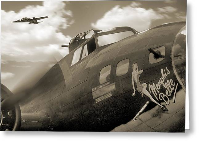 Sepia Digital Art Greeting Cards - B - 17 Memphis Belle Greeting Card by Mike McGlothlen