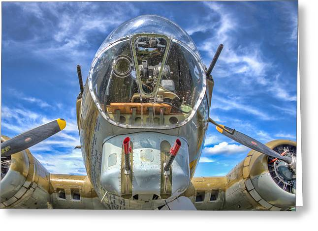 Military Airplanes Greeting Cards - B 17 Up Close Greeting Card by Gary Slawsky
