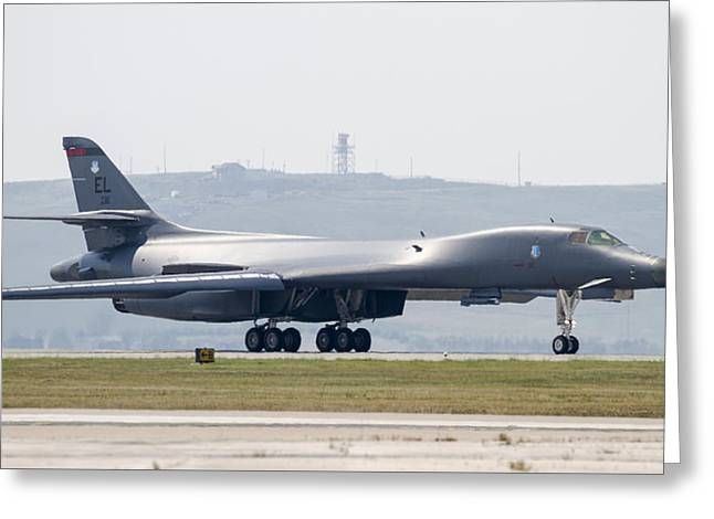 Idling Greeting Cards - B-1B ready for Takeoff Greeting Card by David M Porter