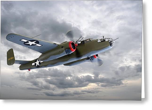 B-25 Mitchell Bomber Greeting Card by Gill Billington