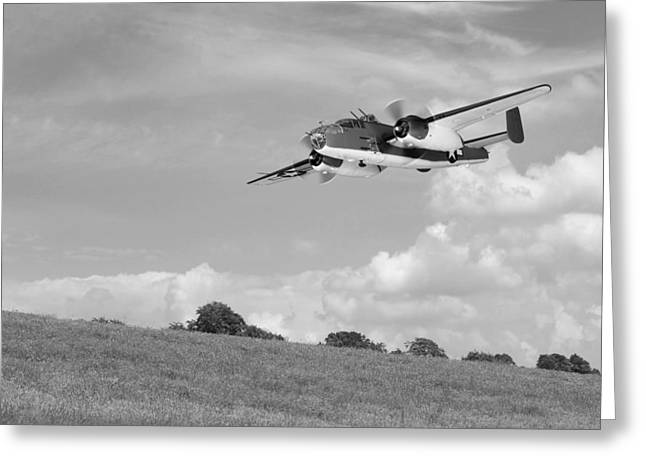 B-25 Warbird Returns - Black And White Greeting Card by Gill Billington