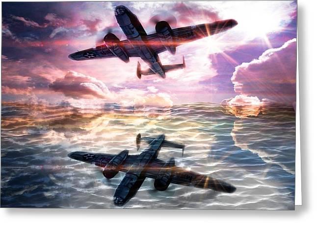 B-25b Usaaf Greeting Card by Aaron Berg