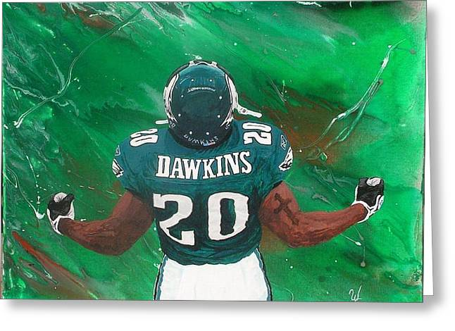 Brian Dawkins Greeting Cards - B Dawk Greeting Card by William Boehmer