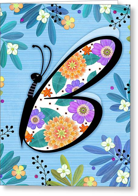 B Is For Butterfly Greeting Card by Valerie Drake Lesiak