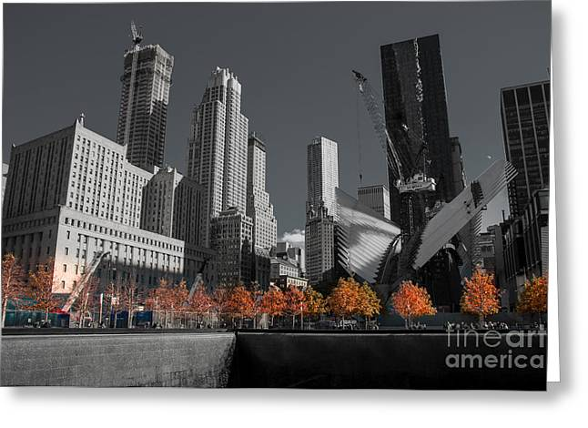 Occasion Greeting Cards - B/W -  Area around of the 9/11 Memorial Greeting Card by  ILONA ANITA TIGGES - GOETZE  ART and Photography