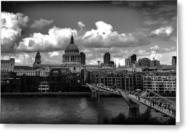 Landscape Framed Prints Greeting Cards - B/W Millennium Bridge Greeting Card by Wei Jia