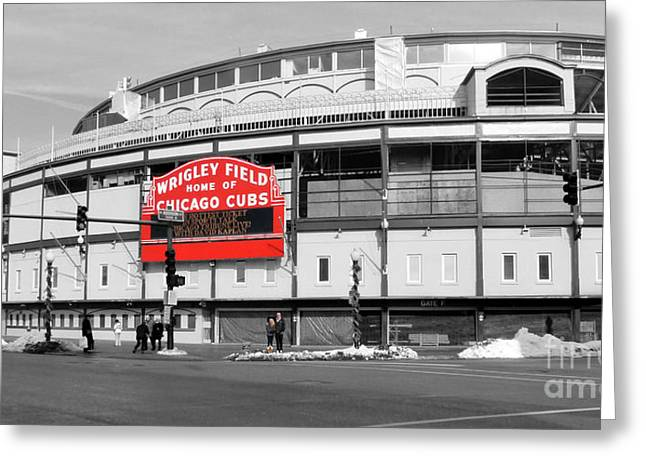 Wrigley Field Greeting Cards - B-W Wrigley 100 Years Young Greeting Card by David Bearden