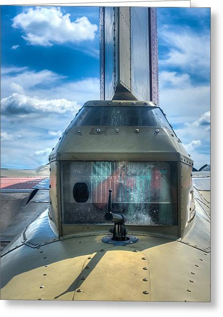 Military Airplanes Greeting Cards - B17 Tail Gunner Position Greeting Card by Gary Slawsky