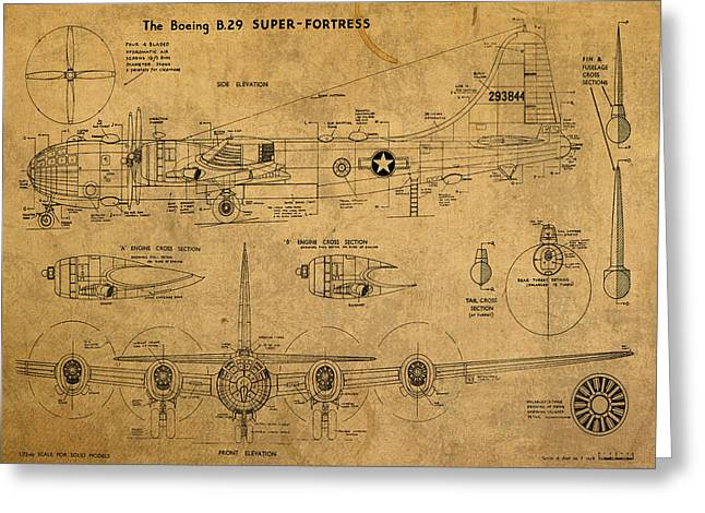 B29 Bomber Greeting Cards - B29 Superfortress Military Plane World War Two Schematic Patent Drawing on Worn Distressed Canvas Greeting Card by Design Turnpike