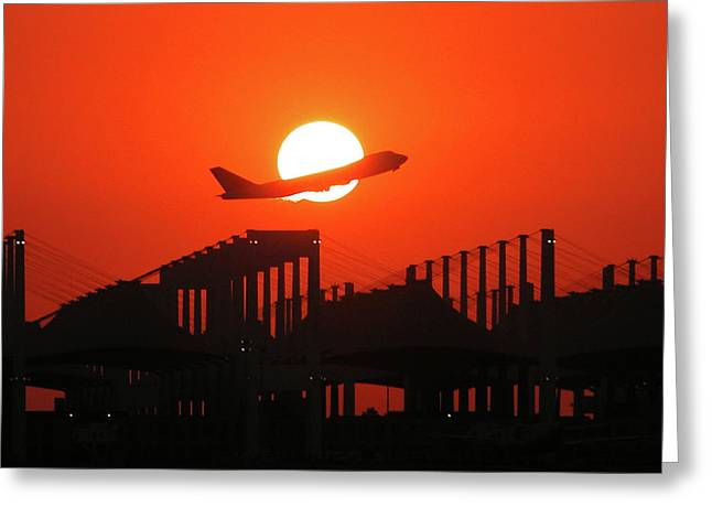 B747 Sunset Take-off Greeting Card by Graham Taylor