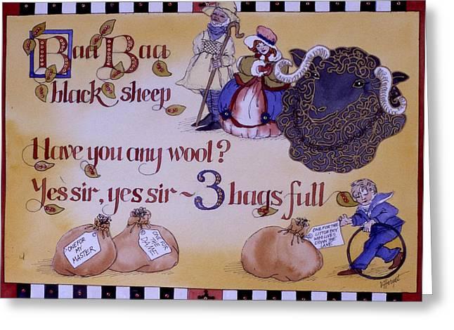 Nursery Rhyme Paintings Greeting Cards - Baa Baa Black Sheep Greeting Card by Victoria Heryet