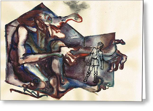 Illustration Sculptures Greeting Cards - Baba Jaga Greeting Card by Zoja Trofimiuk