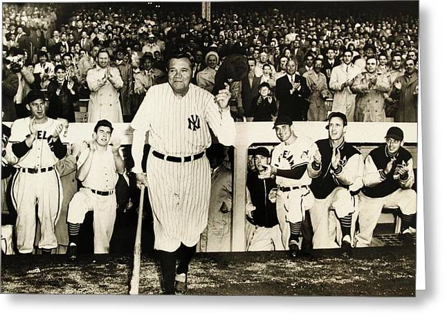 Babe Ruth Posters Greeting Cards - Babe Ruth at Yankee Stadium Greeting Card by Michael Braham