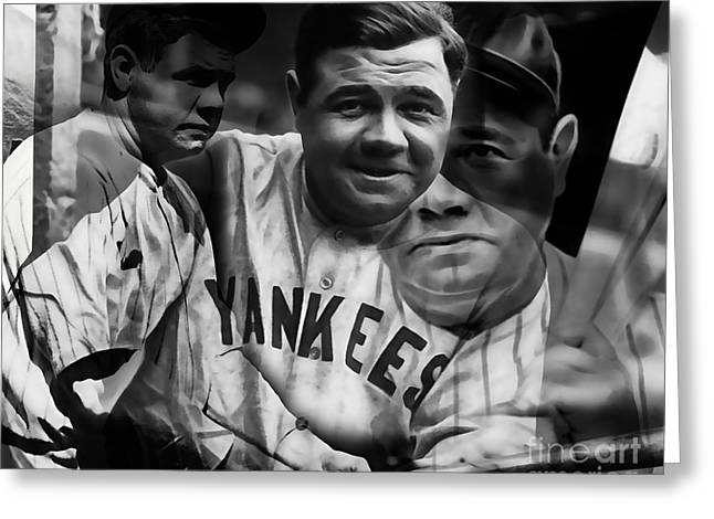Babe Mixed Media Greeting Cards - Babe Ruth Collection Greeting Card by Marvin Blaine