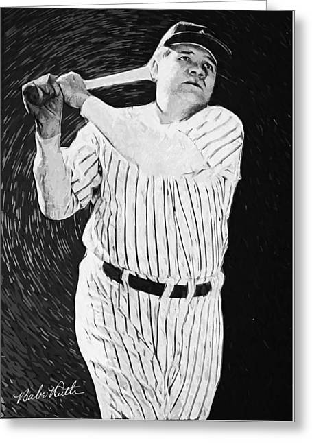 Red Sox Art Greeting Cards - Babe Ruth Greeting Card by Taylan Soyturk