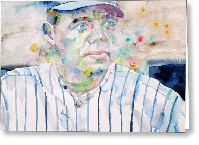 Babe Ruth - Watercolor Portrait Greeting Card by Fabrizio Cassetta
