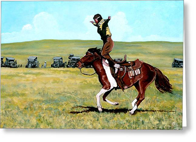 Bull Rider Greeting Cards - Babette Rides Again Greeting Card by Tom Roderick