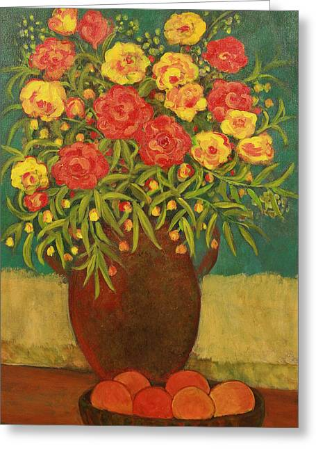 Fruit And Flowers Greeting Cards - Babettes Bouquet Greeting Card by Susan Rinehart