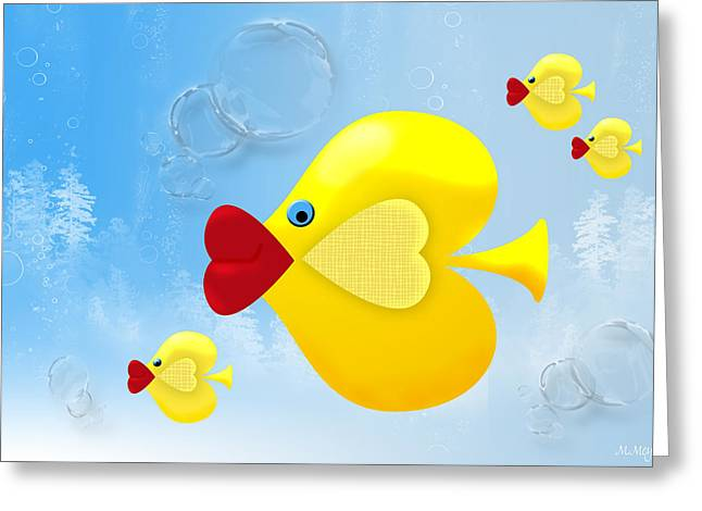 Aquarium Fish Digital Greeting Cards - Babies in Bubbles Greeting Card by Melisa Meyers