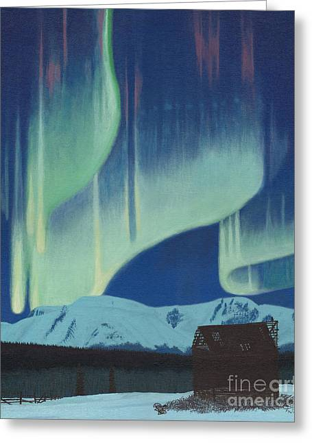 Snow-covered Landscape Greeting Cards - Babine Mountains Aurora Greeting Card by Stanza Widen