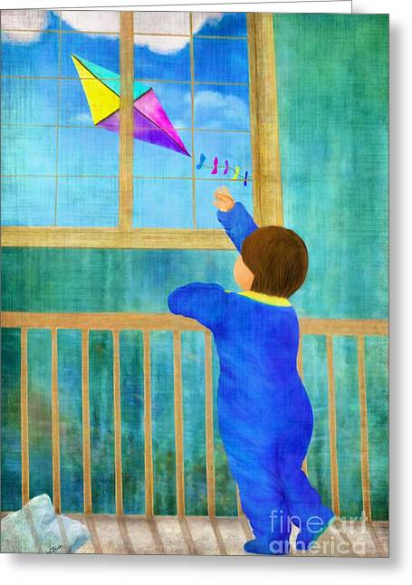 Cute Mixed Media Greeting Cards - Baby and Kite Greeting Card by AnaCB Studio