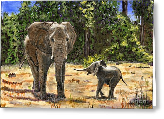 Bedroom Art Greeting Cards - Baby and Mom Elephant Painting Greeting Card by Timothy Hacker