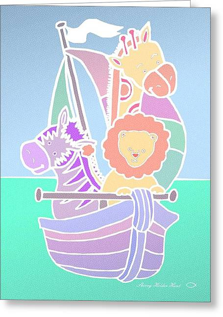 Sailboat Art Mixed Media Greeting Cards - Baby Animal Voyage Greeting Card by Sherry Holder Hunt