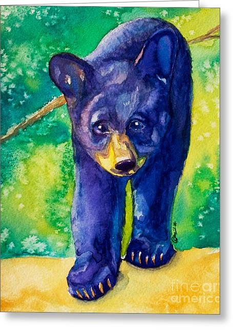 Baby Black Bear Greeting Card by Caitlin  Lodato