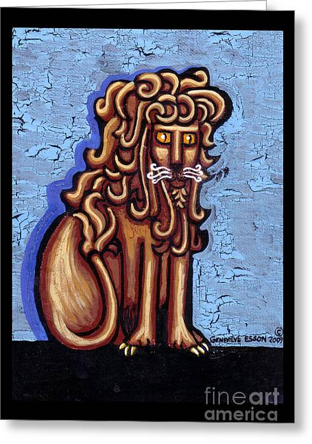 Baby Blue Byzantine Lion Greeting Card by Genevieve Esson