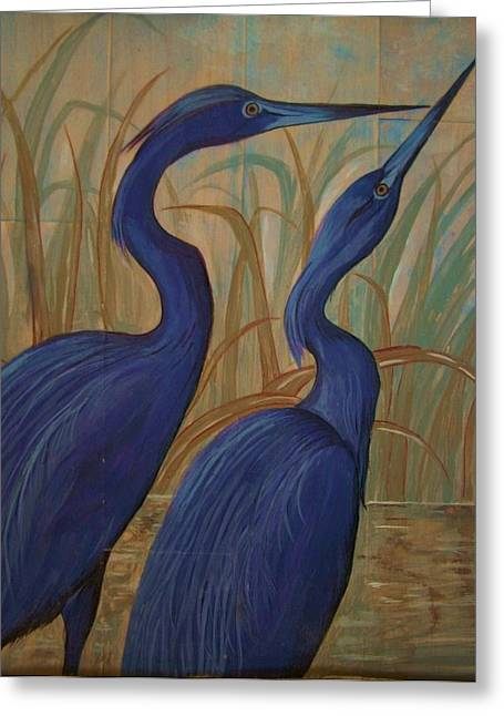 Acrylic On Wood Greeting Cards - Baby BLue Herons Greeting Card by Teresa Grace Mock