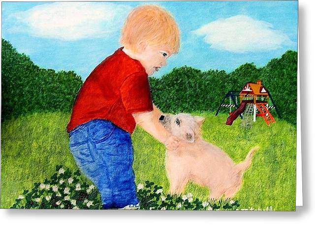 Puppies Paintings Greeting Cards - Baby Boy and His Best Pal Greeting Card by Carole Mitchell