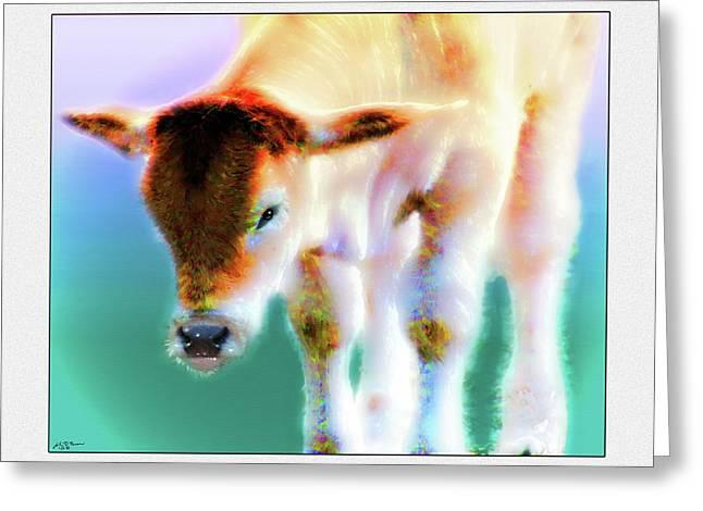 Steer Mixed Media Greeting Cards - Baby Calf 2 Greeting Card by John Breen