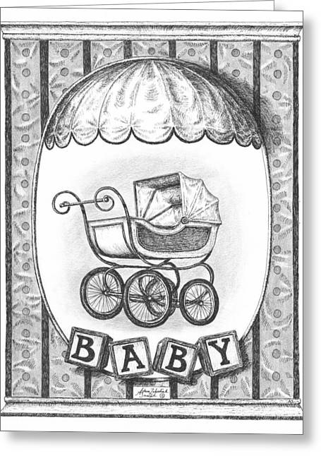 Recently Sold -  - Pen And Paper Greeting Cards - Baby Carriage Greeting Card by Adam Zebediah Joseph