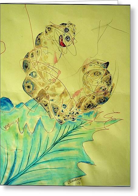 Baby Caterpillar Greeting Card by Paulo Zerbato