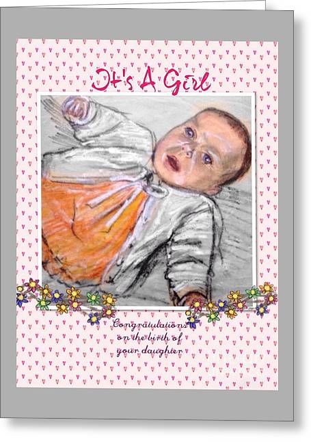 Oil Jewelry Greeting Cards - Baby Congratulations Greeting Card by Joan-Violet Stretch