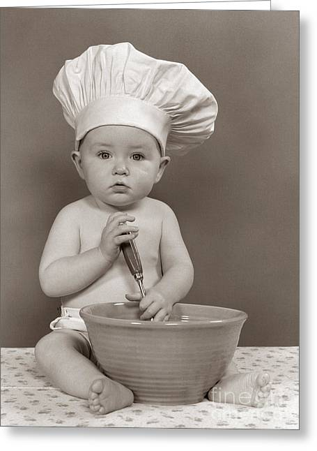 Baby Dressed As Chef, C.1940-50s Greeting Card by H. Armstrong Roberts/ClassicStock