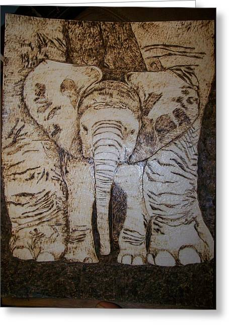 Elephants Pyrography Greeting Cards - Baby Elephant Pyrographics on Paper Original by Pigatopia Greeting Card by Shannon Ivins